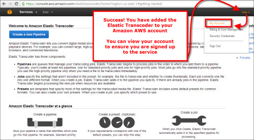 How to sign up for the Elastic Transcoder at AWS